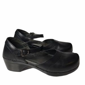 Dansko Black Leather Sally Mary Jane Clogs 40